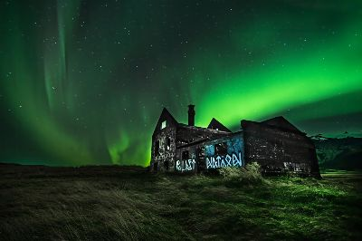 AURORA OVER ABANDONED HOUSE, Rawale  Vijay , India
