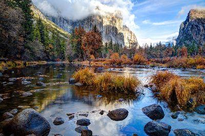 Fall Color Over Merced River, Waycie  Tina , Usa
