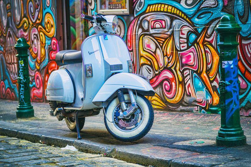 Vespa And Graffiti, Arnolda  Ewan , Australia