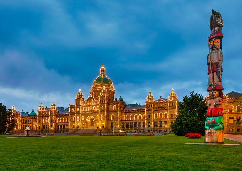 Victoria Parliament And Totem, Dedonato  Donald , Usa