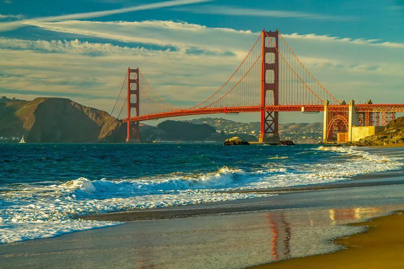 Evening Glow-Golden Gate Bridge, Rosengren  Erik , Usa
