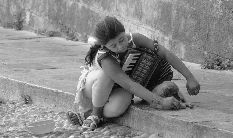 A Girl With Dog And Accordion, Dakovic Svajcer  Kornelia , Serbia
