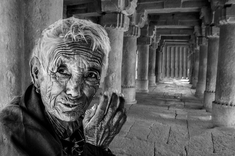 Old Monk In Cave, Maity  Basudev , India